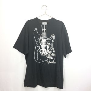 New Fender XL T-Shirt Black White Guitar